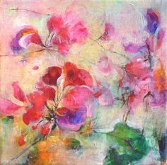 GERANIUM Original Abstract Painting on Stretched by Paulina722, $108.00