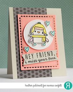 Reverse Confetti | Just Because, Thinking of You Card, Hello, Friendship, Penguin, Polka Dots, Die Cuts, Watercolor, Heat Embossing, Hearts, Gray, Black, Coral, Aqua, Yellow