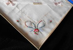 Vintage Handkerchiefs in original box    Set of two    Unused still attached to card Pure Irish Linen    Bow and roses embroidery    Box is in