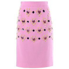 HONOR Heart jewel-embellished pencil skirt (7.355 ARS) ❤ liked on Polyvore featuring skirts, honor, pink, wool skirt, knee length pencil skirt, pencil skirt, pink pencil skirt and embellished skirt
