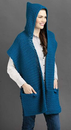 Be stylish as you romp, play, shop or travel while wearing this crocheted wrap. The Button-Flap Pockets shawl is made in two strips, with an added hood and two pockets. The pockets are the distinguishing feature of this crochet shawl allowing you to open Crochet Hooded Scarf, Crochet Hoodie, Crochet Scarves, Crochet Shawl, Crochet Clothes, Knit Crochet, Hooded Scarf Pattern, Loom Knitting, Free Knitting
