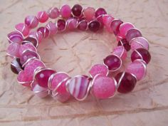 Pink Agate Wire Wrapped Memory Wire Bracelet by SerendipityFinch, £14.00