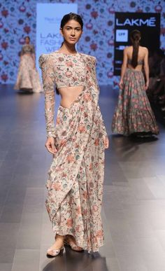 floral print saree, closed neck blouse, net silver sleeves