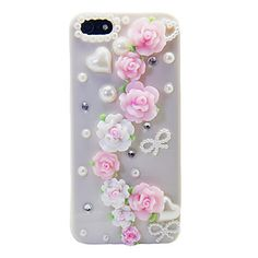 iPhone 5/5S - Soft Roses, Pearls, Rhinestones on Pearl Case
