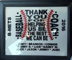 Custom Baseball Coach gift. Add team name, players and year free. Framed glass design or on t-shirts, totes, sweatshirts & more! Great gift! by uniquefavors on Etsy