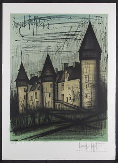 """Lot 345: Bernard Buffet (French, 1928-1999) """"La Chateau de Culan"""" Lithograph; 1965, pencil signed lower right, EA (artist proof) lower left; embossed """"BFK"""" paper mark lower right"""