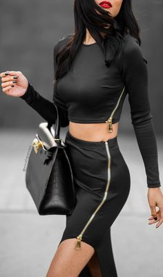 Gold Zip Details On Black Fall Street Style Inspo by Micah Gianneli