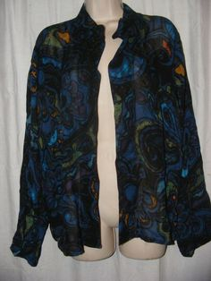 Chico's Blue Multi Color Patterned Sheer 100% Rayon Open Front Jacket 3 XL #Chicos #BasicJacket