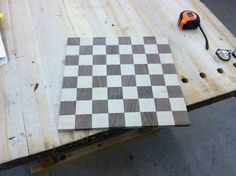 Soft Maple and Walnut Chess Board