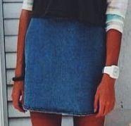 Straight short denim skirt