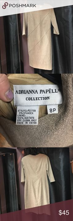Adrianna Papell Collection beige sheath dress Adrianna Papell Collection beige sheath dress. Has diagonal stitched perforation detail (see pics), and little back slit. Back zip closure. Brand new condition. Adrianna Papell Dresses