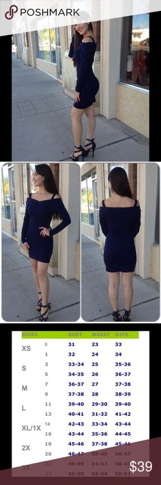 Navy Blue Off Shoulder Dress This comfortable knit dress features long sleeves and off shoulder design. ( Sorry only Medium available) 96% Polyester, 4% Spandex. This closet does not trade or use PayPal) Top Chic Dresses Mini