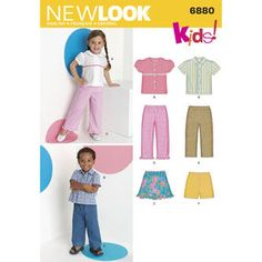 New Look Sewing Pattern 6880 Toddler Separates, Size A Unisex Toddler Shirt, Pants, Shorts and Skirt sewing pattern. New Look pattern part of New Look Spring 2009 Collection. Pattern for 6 looks. Dress Making Patterns, Skirt Patterns Sewing, Simplicity Sewing Patterns, Clothing Patterns, Skirt Sewing, Childrens Sewing Patterns, Sewing For Kids, New Look Patterns, Thing 1