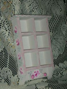 "WALL SHELF KEY HOLDER 9.5X2X6"" ej pink roses shabby chic cottage hand paint ws5 #Unbranded #ShabbyChic"