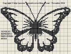 Grille gratuite point de croix : Papillon noir - Le blog de Isabelle