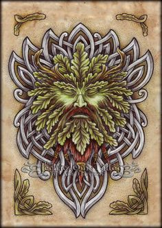 ✿ Tattoos ✿ Celtic ✿ Norse ✿ Oak Green Man n Knotwork by Ash-Harrison Green Man Tattoo, Holly King, Celtic Green, Tree Faces, Celtic Tattoos, Tattoo Stencils, Celtic Art, Woodland Creatures, Book Of Shadows