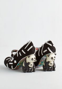Forever Panda Day Heel. Fall head over heels for these adorably bold pumps by Irregular Choice! #black #modcloth