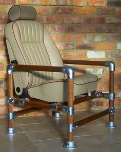 Metal and Wood Kee Klamp Chair for Man Cave or Modern Office
