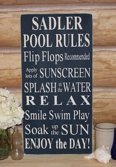 Custom Personalized Family Name Typography Pool Rules -Wood Sign- Outdoor Decor