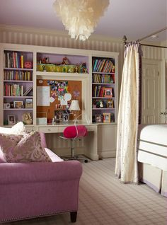 Bedroom   for a young girl to grow into with silver, gray and purple fabric, custom built-in furniture, a canopy bed, mirrored tables and a shell chandelier for added glamour.  dvharchitects