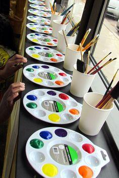 Kids painting party - $1.00 paint pallets