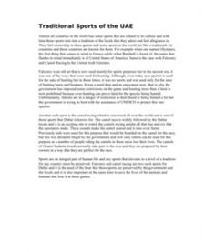 Traditional Sports of the UAE