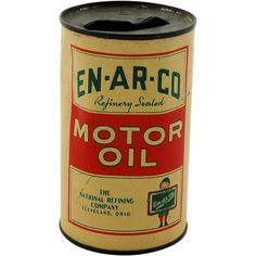 Advertising Tin Coin Bank En-Ar-Co Motor Oil Can Refinery Sealed The National Refining Company from Antik Avenue on #rubylane