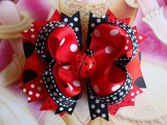 Red and Black Lady Bug Boutique Stacked Hair Bow Hair by innavert, $8.50