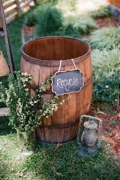 rustic country wine barrel wedding decor for backyard wedding