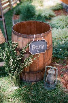 rustic country wine barrel wedding decor for backyard wedding