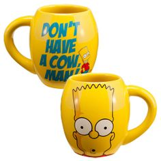 Round Bart Simpson Ceramic Coffee Tea Mug The Simpsons Don't Have a Cow Man Oval
