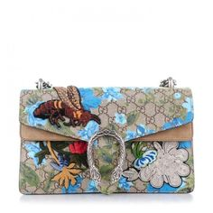GUCCI GG Supreme Monogram Blooms Print Embroidered Small Dionysus... ❤ liked on Polyvore featuring bags, handbags, shoulder bags, monogrammed purses, white handbags, gucci shoulder bag, monogrammed handbags and shoulder strap bags