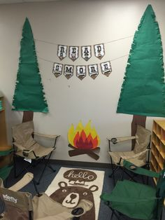 Camping themed classroom reading nook