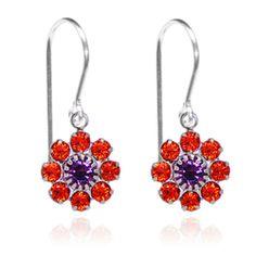 Orange & Purple Flower Drop Earrings - $19.80