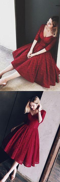 V Neck Half Sleeves Burgundy Lace Homecoming Dress Short Prom Dress,Homecoming
