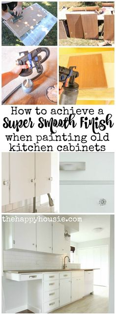 How to achieve a super smooth finish when painting old kitchen cabinets with the HomeRight Finish Max Pro tutorial at thehappyhousie.com