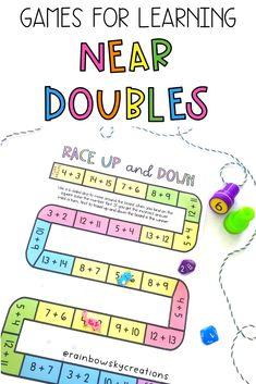 Get your students confidently learning near double number facts with these fun games, puzzles and activities! This resource is designed to provide your students with 10 hands-on tasks. have been carefully created to build proficiency, fluency and confidence when mastering near doubles. Near doubles puzzles, games and activities. #rainbowskycreations