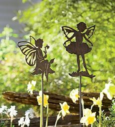 Delicately posed pixies for garden, flower bed or pathway. Wonderfully magical!