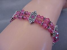 Clearance Pink Swarovski Crystal Bracelet Rose by Magicclosetbling