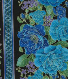 Keepsake Calico™ Cotton Fabric-Blue Floral Stripe On Black