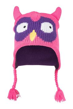 b925f404210 Mountain Warehouse Owl Kids Winter Stalker Fleece Lined Ski Mountain  Knitted Hat Wooly Wool Warm Bright Pink