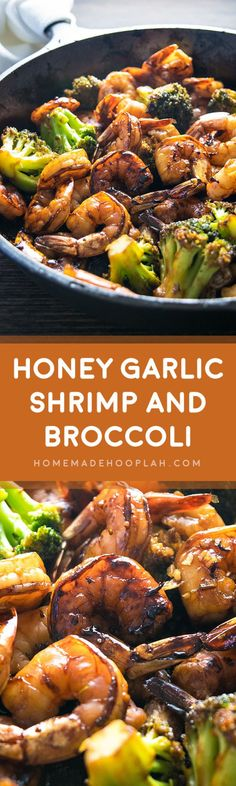 Honey Garlic Shrimp and Broccoli! Browned honey garlic shrimp with tender broccoli - a super easy dinner that packs a wallop of flavor with simple, common ingredients. | HomemadeHooplah.com (Low Ingredients Easy Recipes)