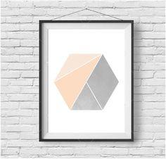Peach Hexagon Print Hexagon Art Honeycomb Print by PrintAvenue
