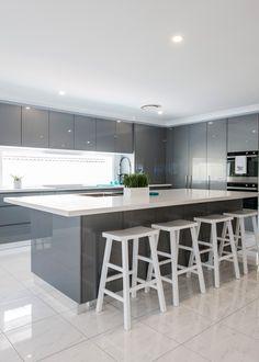 Modern Contemporary Kitchen by Harrington Kitchens in Raby, NSW - Modern Kitchen Modern Kitchen Interiors, Luxury Kitchen Design, Kitchen Room Design, Contemporary Kitchen Design, Luxury Kitchens, Kitchen Layout, Home Decor Kitchen, Interior Design Kitchen, Modern Contemporary