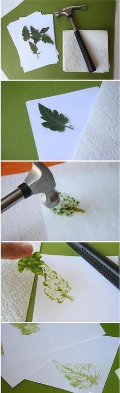 手工DIY 手工 创意 设计 不用一滴颜料的天然拓印,很厉害有木?