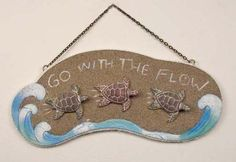Go with The Flow Sea Turtles Wooden Plaque 14 inch Sign Wall Decor | eBay