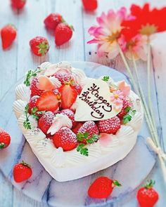 Happy Birthday Wishes Images, Happy Birthday Flower, Happy Birthday Cakes, Gourmet Desserts, Dessert Recipes, Surprise Cake, Delicious Deserts, Number Cakes, Strawberry Cakes