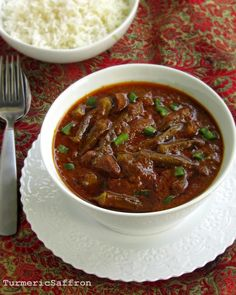 Turmeric and Saffron: Khoresh Bamieh Khuzestani - Southern Iranian Okra Stew with Tamarind