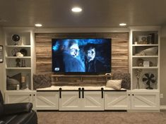Living Room Custom Built Tv Wall Units Brown Cabinet With Stand 3 Seats Sofa Black