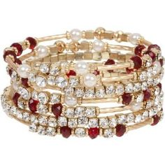 Stunning Gold Tone Wrap Bracelet with Red and Clear Crystals and Faux Pearl Accents  ✽We❤This!✽ Grenlist.com ツ